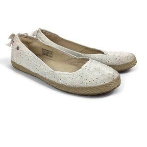 UGG Tassy Ivory White Eyelet Floral Flats Girls 4